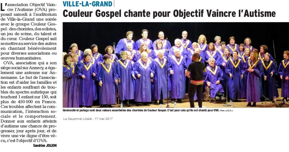 Article Dauphiné Libéré sur le concert de Couleur Gospel
